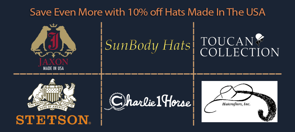 Save 10 percent on Made In The USA Hats from these brands