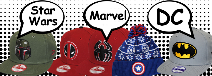 Star Wars, Marvel, DC Hats