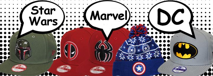 Star Wars, Marvel, DC Hats