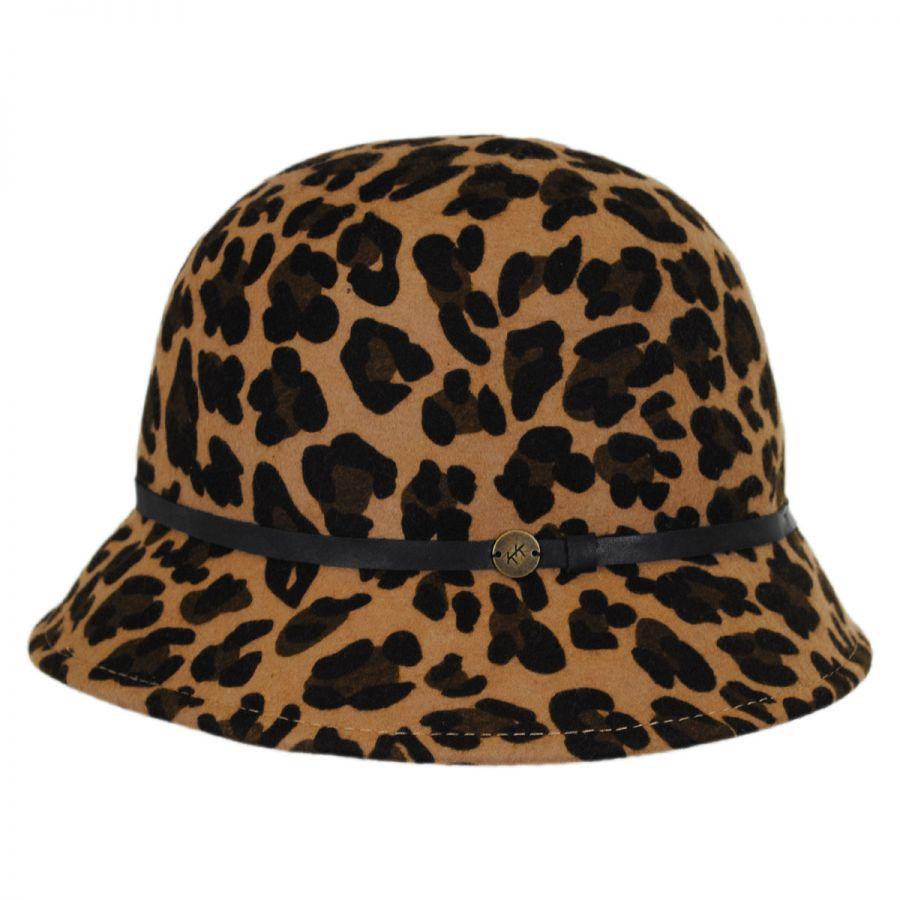 Karen Kane Leopard Wool Felt Cloche Hat Cloche & Flapper Hats