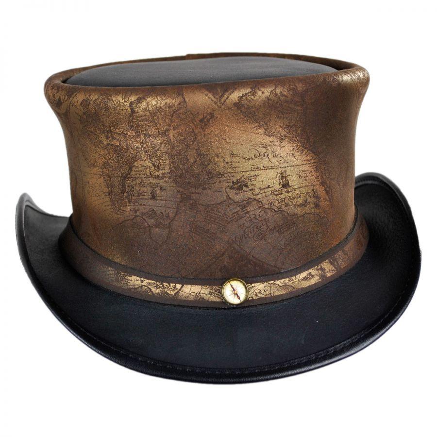 Head N Home Hatlas Leather Top Hat Top Hats
