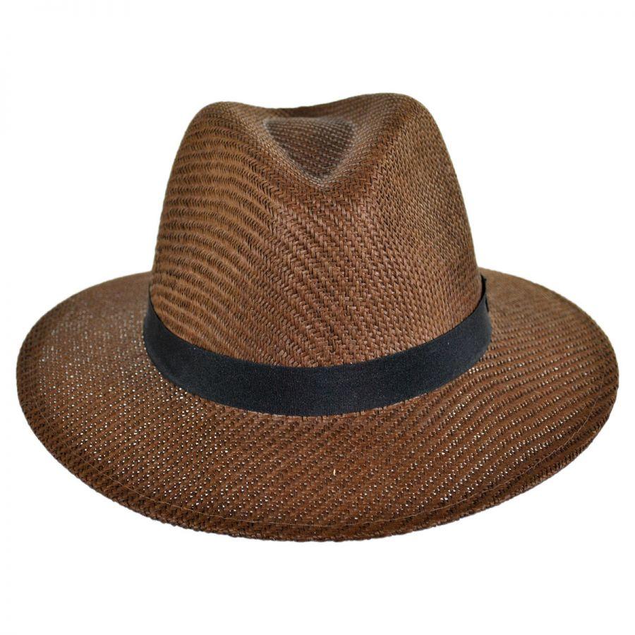 2e2f99fc Panama Jack Ribbon Toyo Straw Safari Fedora Hat Straw Fedoras