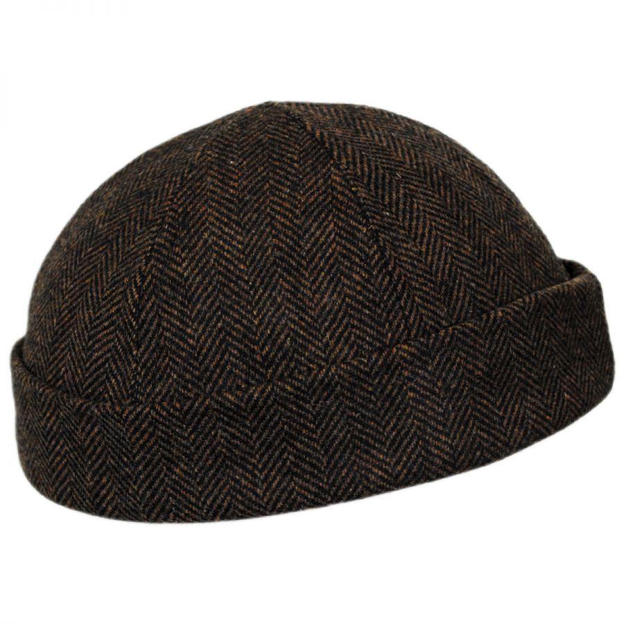 4ae8b359b Six Panel Herringbone Wool Skull Cap Beanie Hat