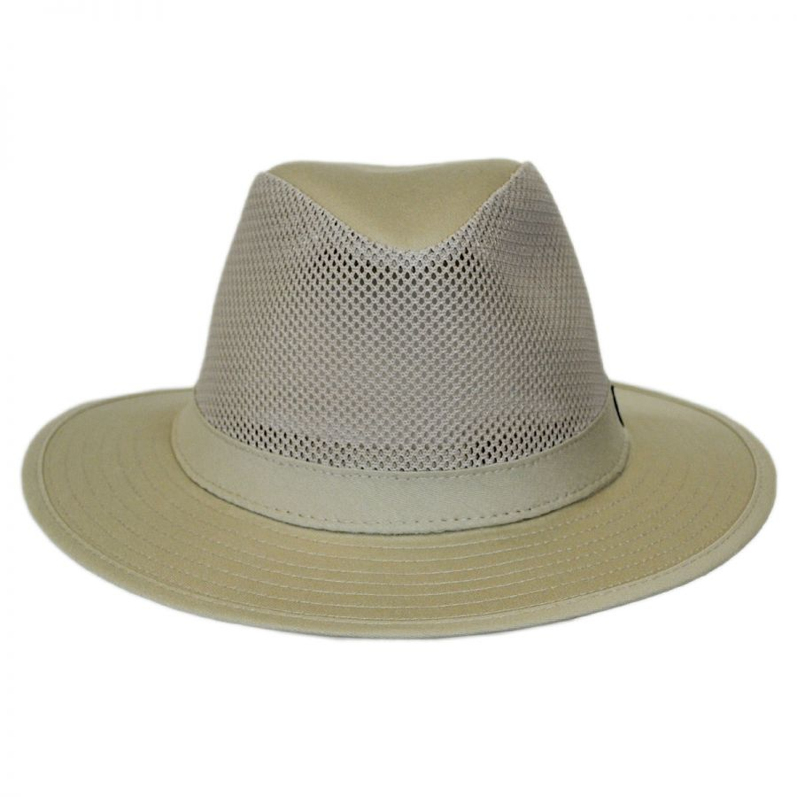 c7bc5eb87da Panama Jack Mesh Crown Cotton Safari Fedora Hat Fabric