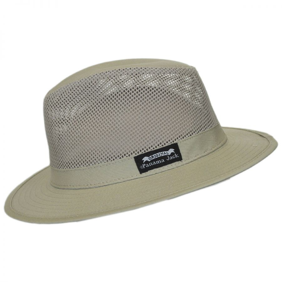af99015f740 Panama Jack Mesh Crown Cotton Safari Fedora Hat Fabric