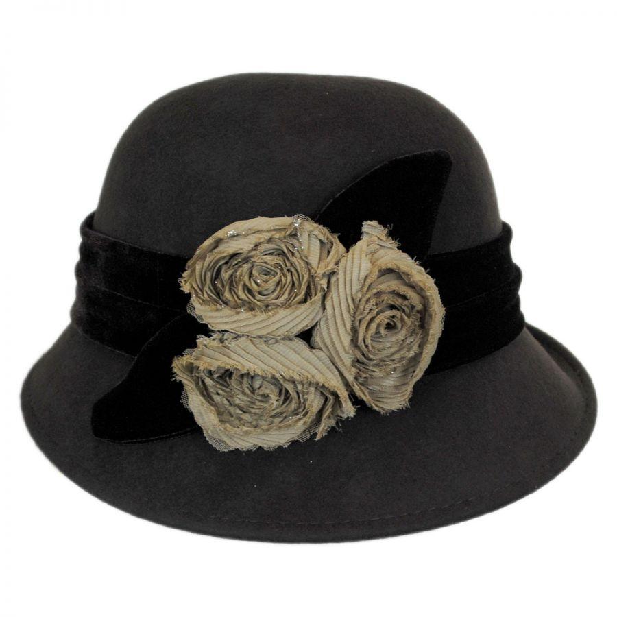Callanan Hats Chiffon Flowers Wool Felt Cloche Hat Cloche ...