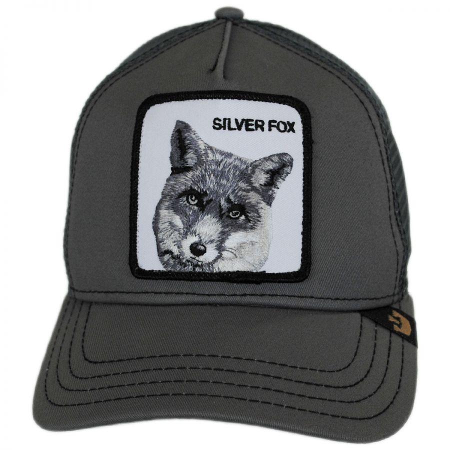 Silver Fox Mesh Trucker Snapback Baseball Cap In