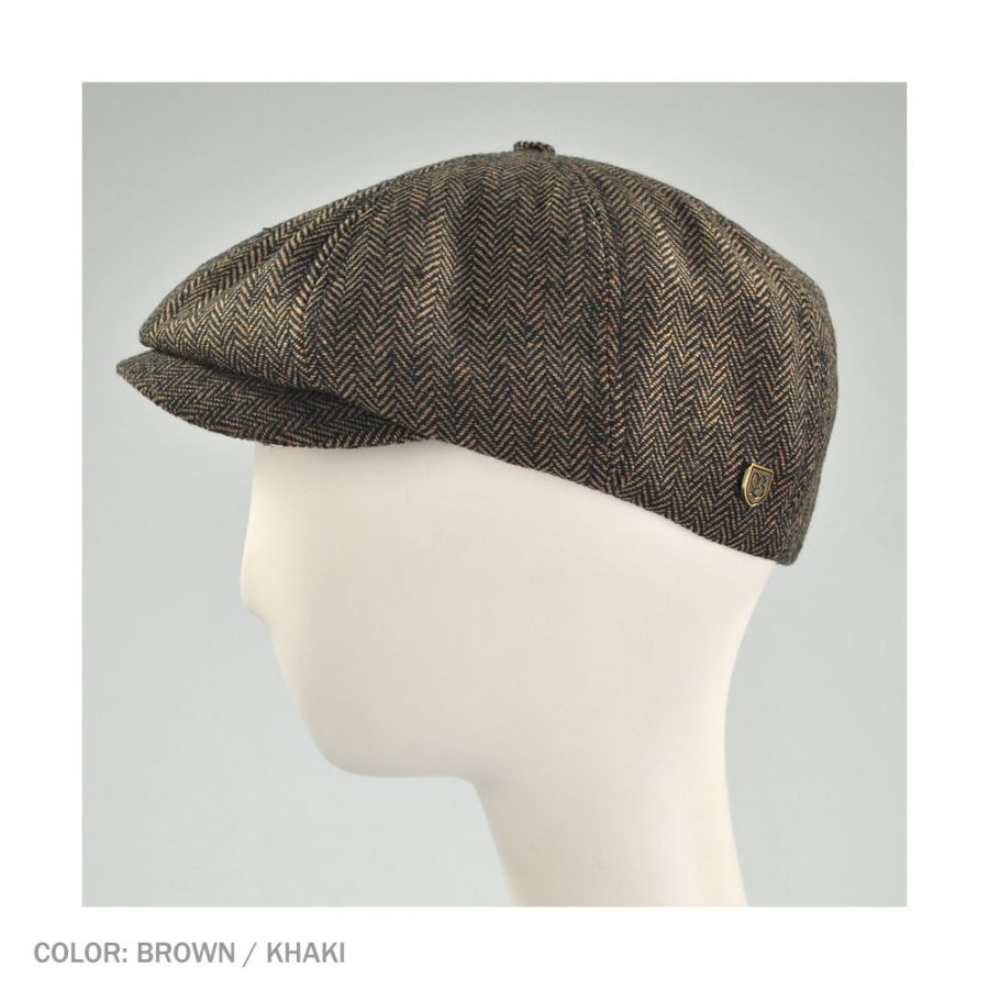 2278a81f08c Brixton Hats Brood Herringbone Wool Blend Newsboy Cap - Brown Khaki ...