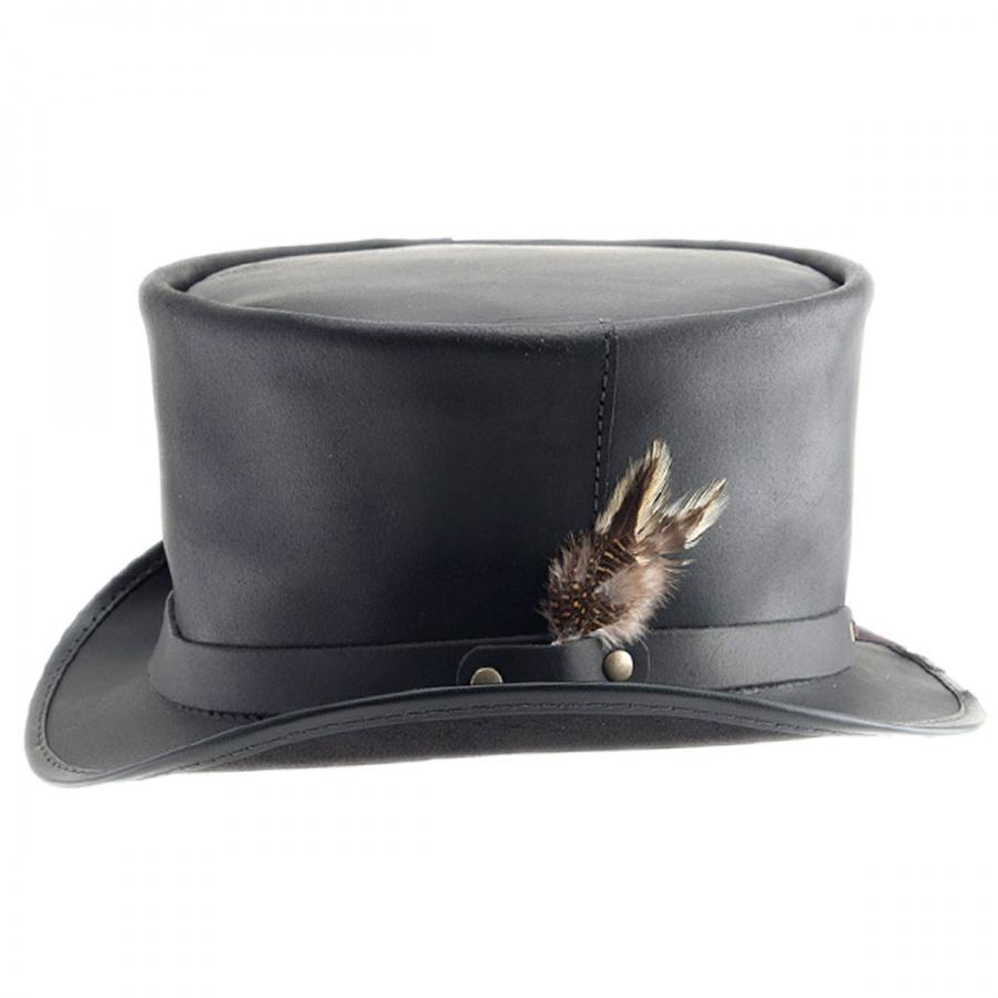 4cd911f2b09 Head  N Home Coachman Black Leather Top Hat Top Hats