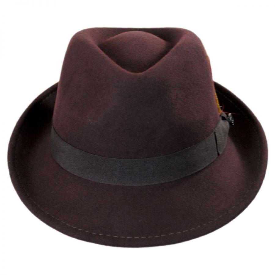 Jaxon Hats Detroit Wool Felt Trilby Fedora Hat - Brown Stingy Brim ... 75d7681f5da