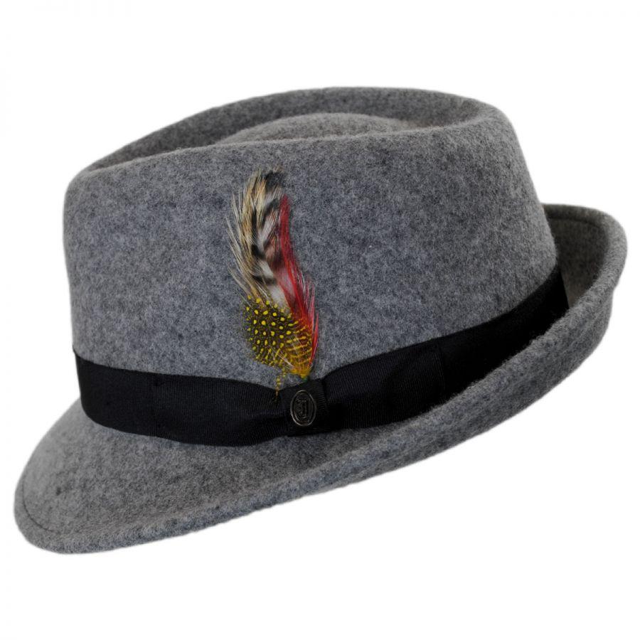 5b405cb5bba782 Jaxon Hats Detroit Wool Felt Trilby Fedora Hat - Flannel Stingy Brim ...