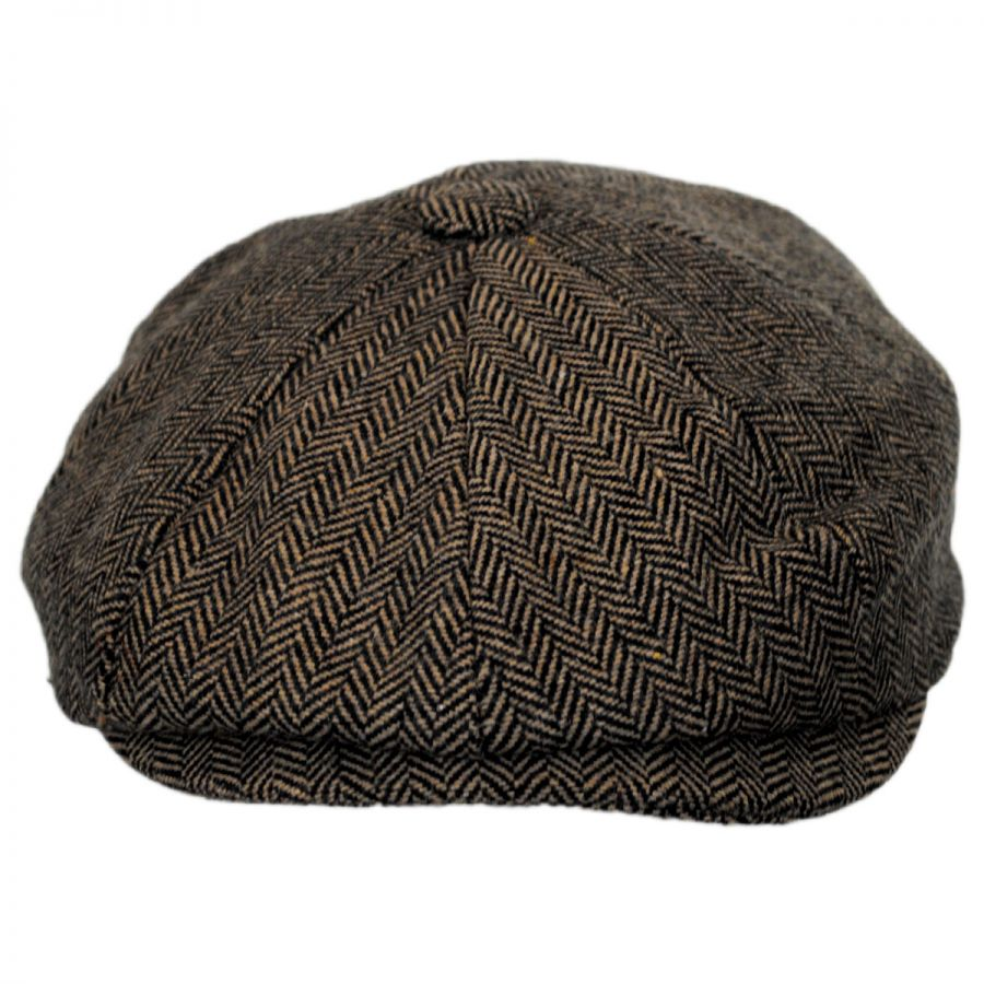 Devon Herringbone Wool Newsboy in