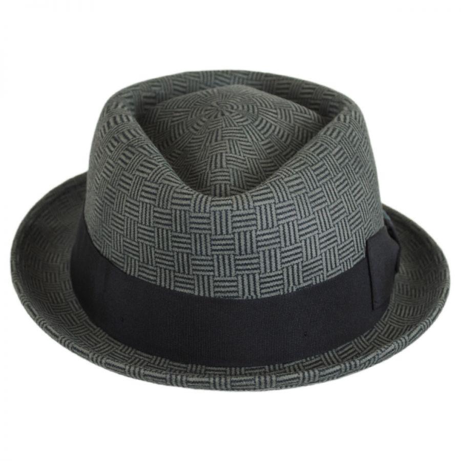 49591d8b60950 Stefeno Dev Wool Felt Diamond Crown Fedora Hat Stingy Brim   Trilby