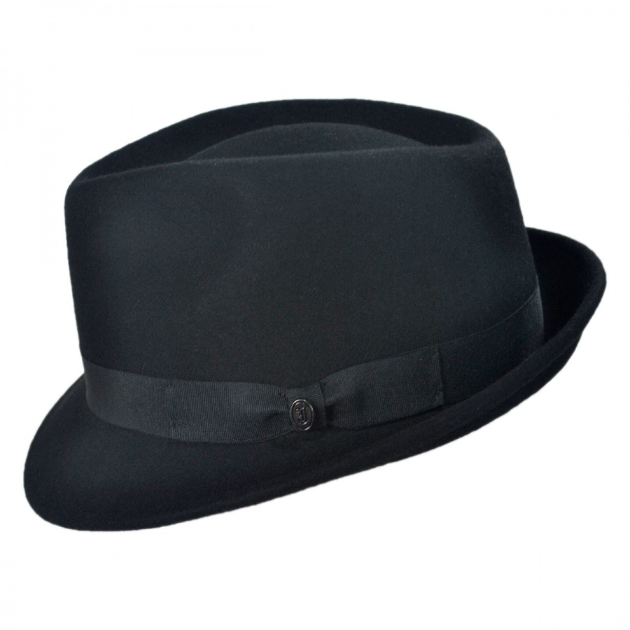 Jaxon Hats Detroit Wool Felt Trilby Fedora Hat - Black All Fedoras 0f011c8a718