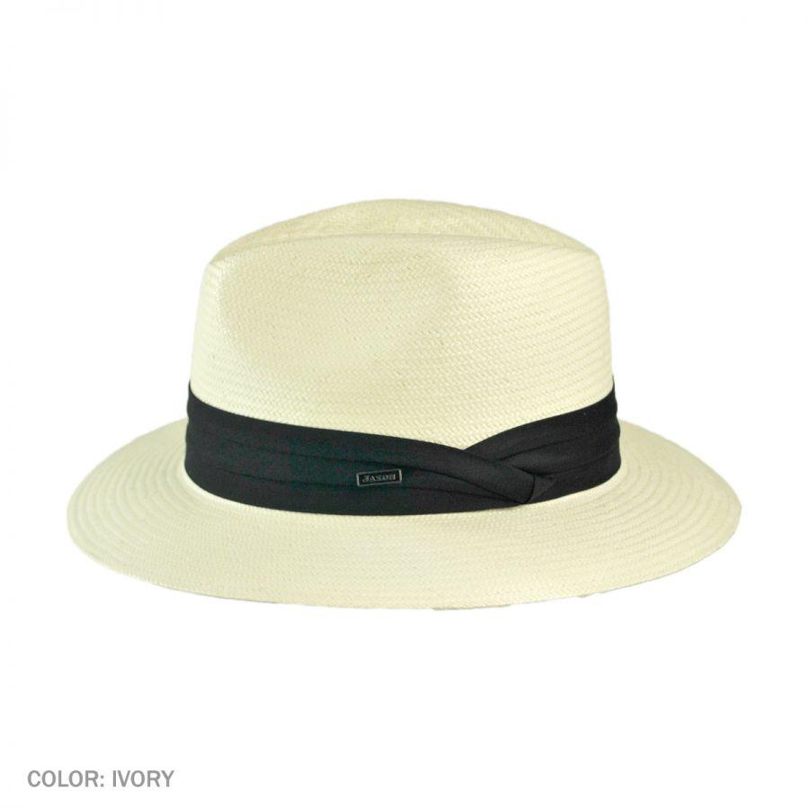 Jaxon Hats Toyo Straw Safari Fedora Hat - Black Band All Fedoras c6189e70bf4