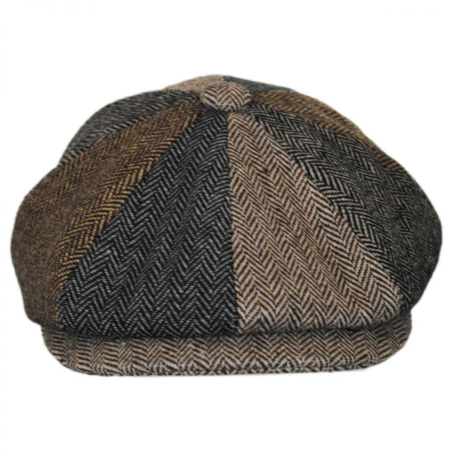 Jaxon Hats Herringbone Patchwork Wool Blend Newsboy Cap Newsboy Caps 3a6f748e4506
