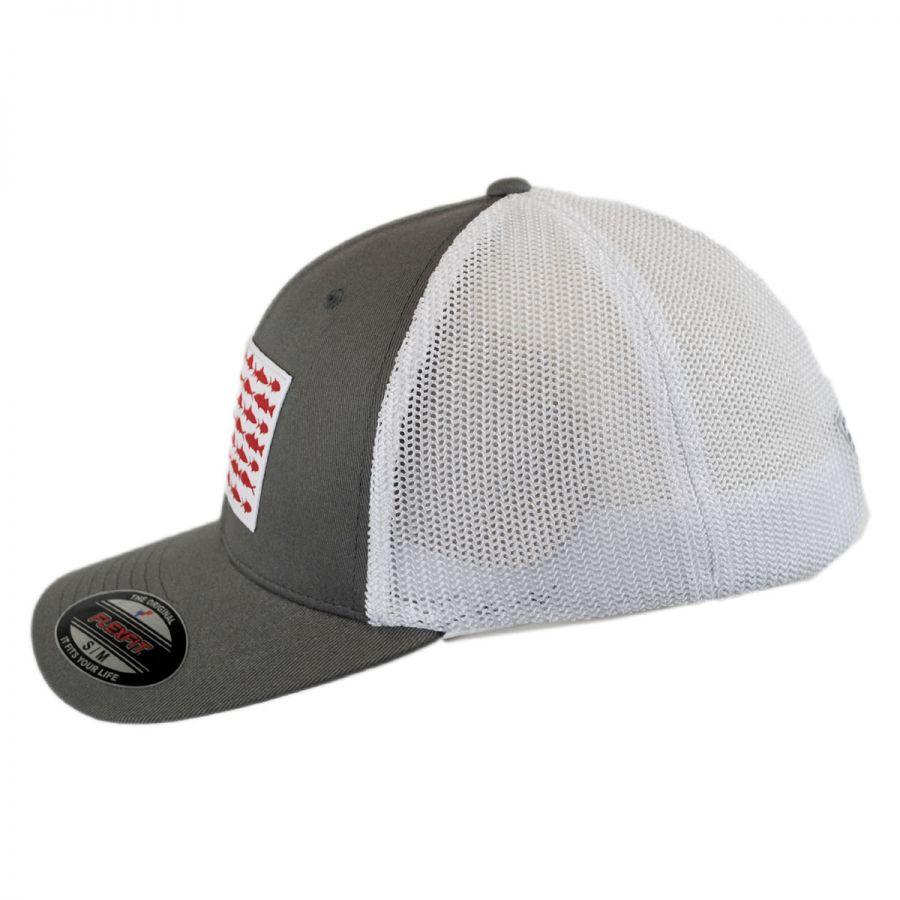 5923d393a04fd Columbia Sportswear PFG Fish Flag Mesh FlexFit Fitted Baseball Cap ...