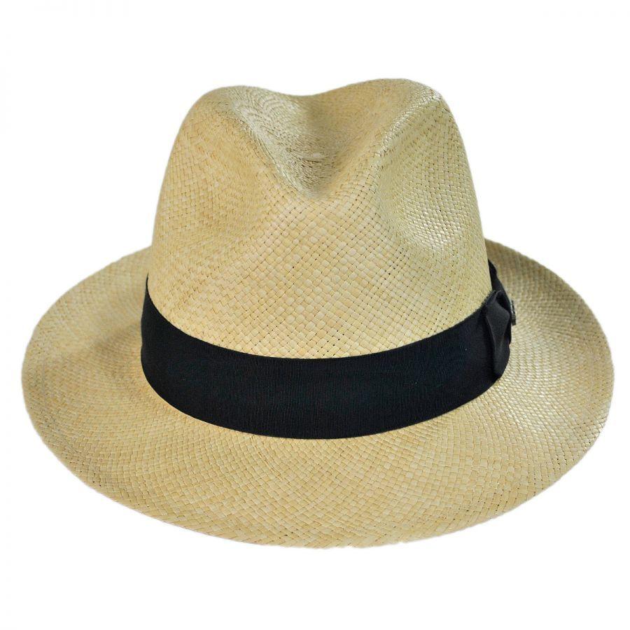 75b46634 Scala Panama Straw Snap Brim Fedora Hat Panama Hats