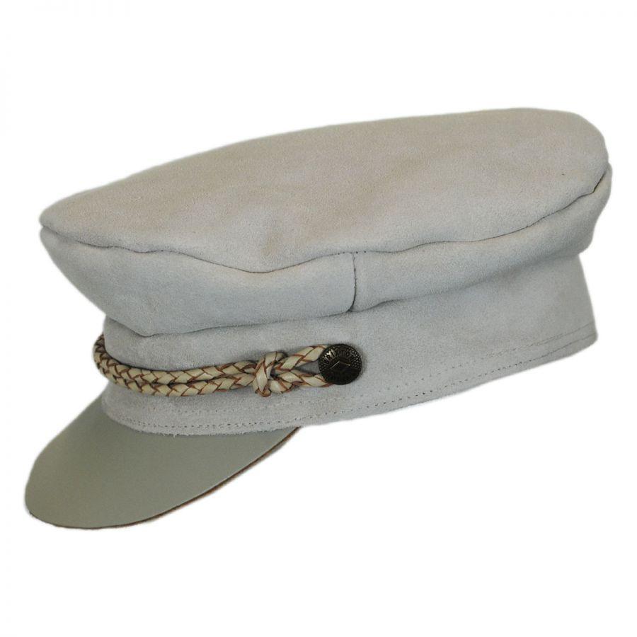 3fea1d344d3ad3 Brixton Hats Kayla Leather Suede Fiddler Cap Greek Fisherman Caps