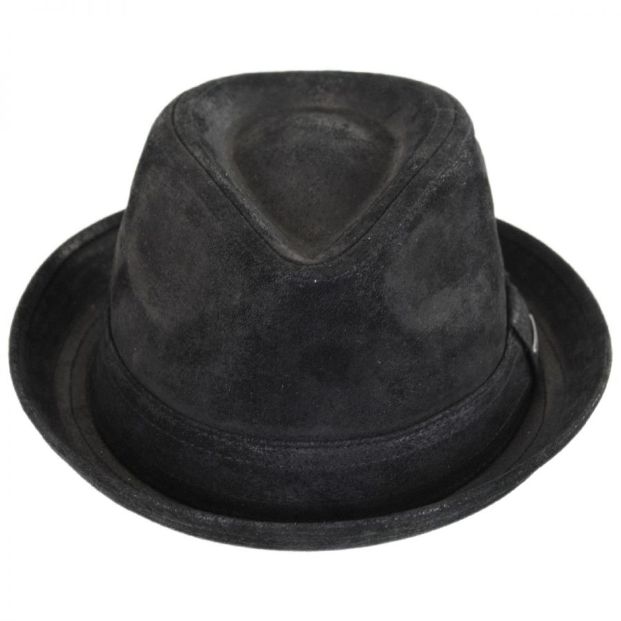 Stetson Leather Player Trilby Fedora Hat Leather Fedoras ca2b965409b