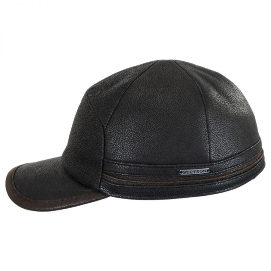 Stetson leather earflap fitted baseball cap