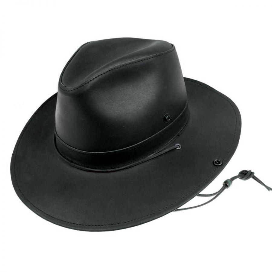 Henschel Leather Aussie Fedora Hat Leather Fedoras 07c40d394525
