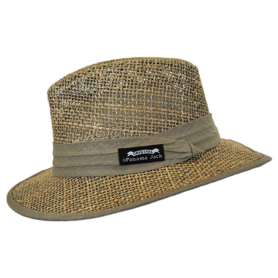 ea6d92b8 Panama Jack Seagrass Straw Safari Fedora Hat Straw Fedoras