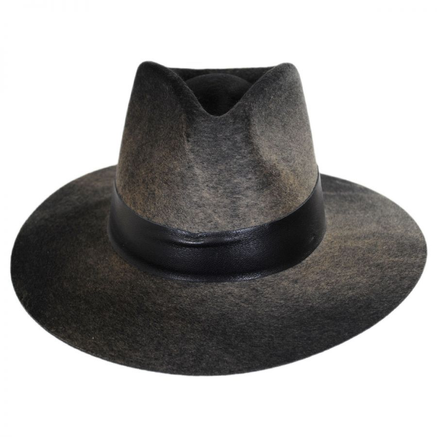 d5b0ba42e176d Bailey Hillman Wool Felt and Leather Fedora Hat All Fedoras