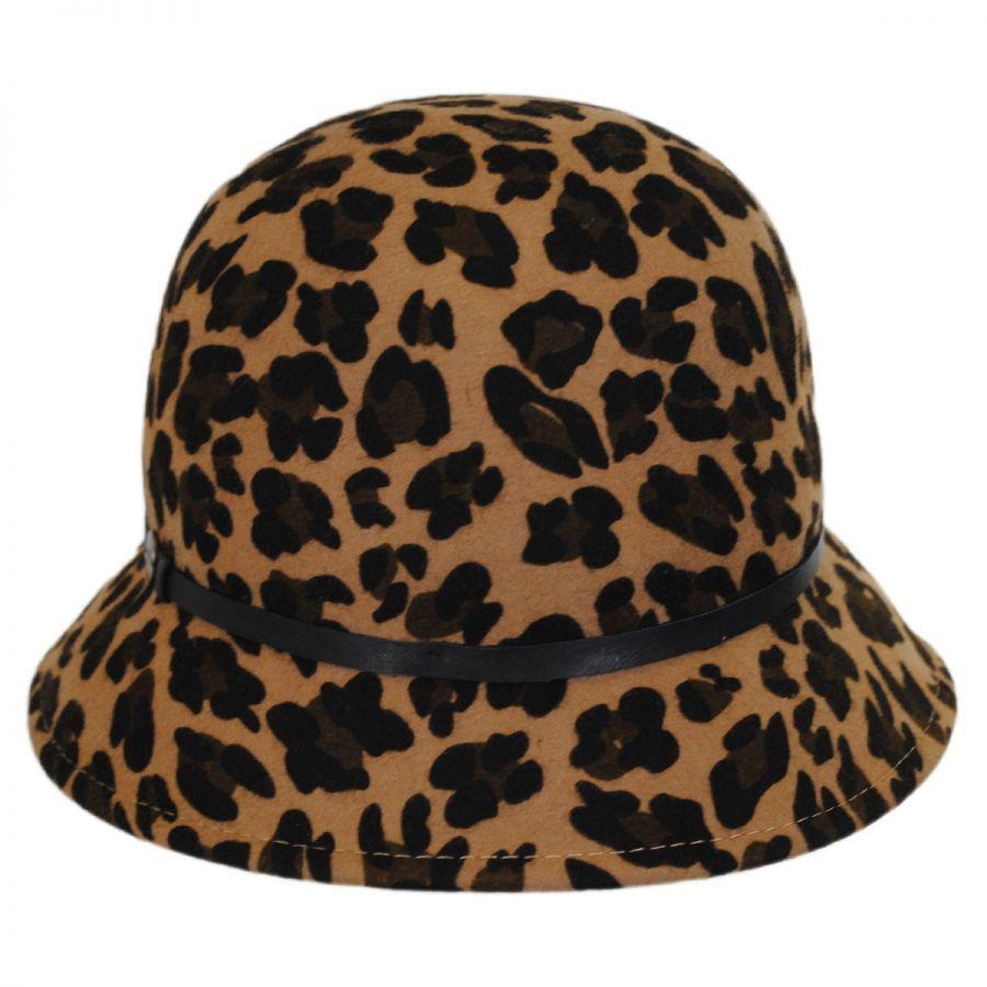724b87be71a67 Karen Kane Leopard Wool Felt Cloche Hat Cloche   Flapper Hats