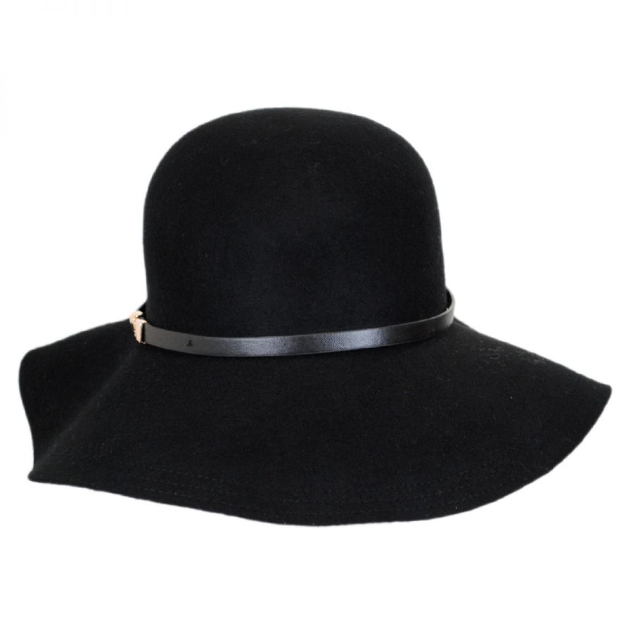 Buckle Hats: Scala Buckle Band Wool Felt Floppy Hat Casual Hats
