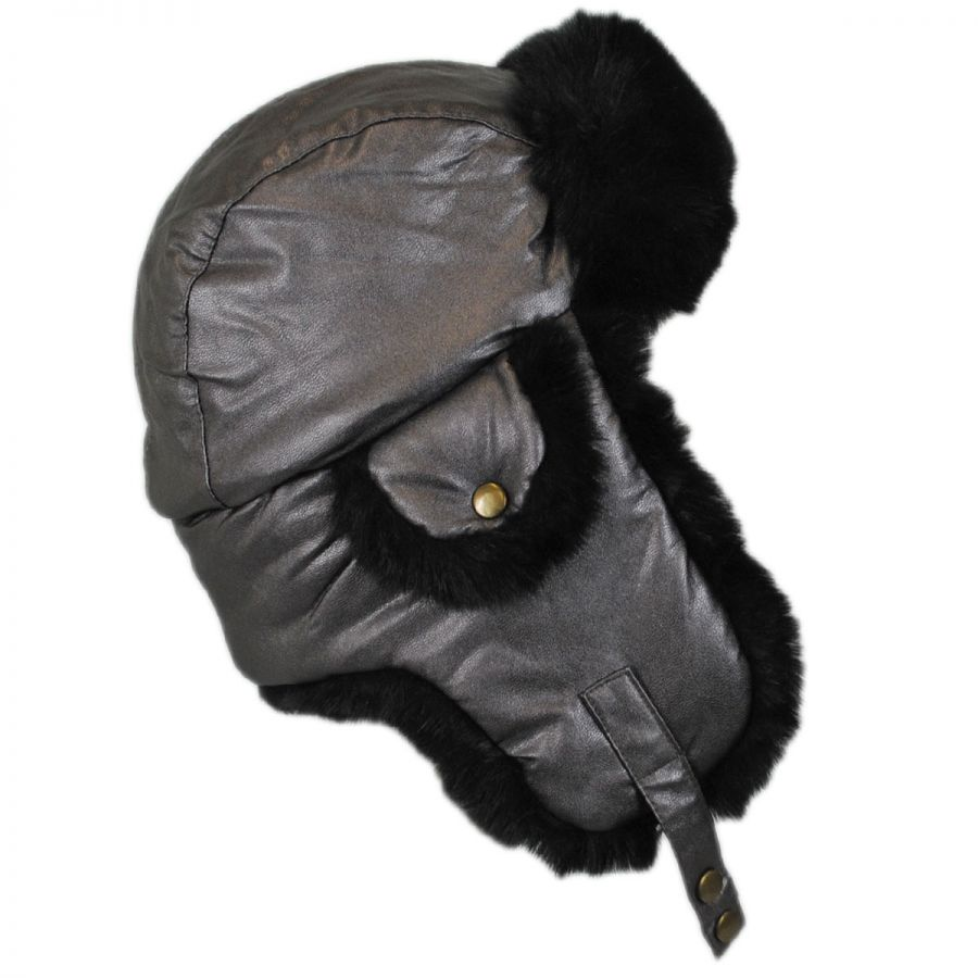 Scala Sasha Faux Leather Trooper Hat Women s Cold Weather Hats 4961be6fc52