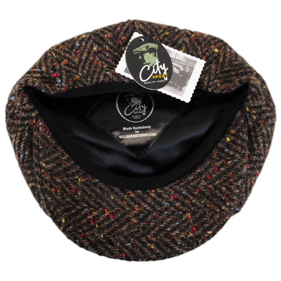 City Sport Caps Large Herringbone Donegal Tweed Wool Newsboy Cap ... 39b9824ae00
