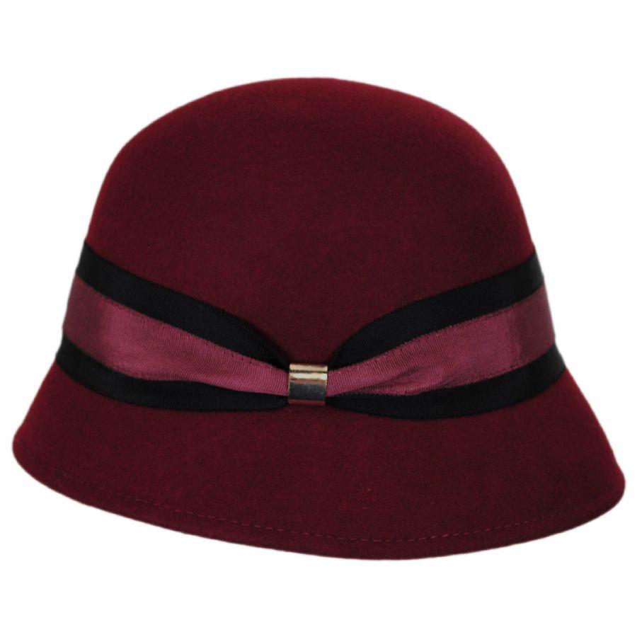 Callanan Hats Two-Tone Ribbon Wool Felt Cloche Hat Cloche ...