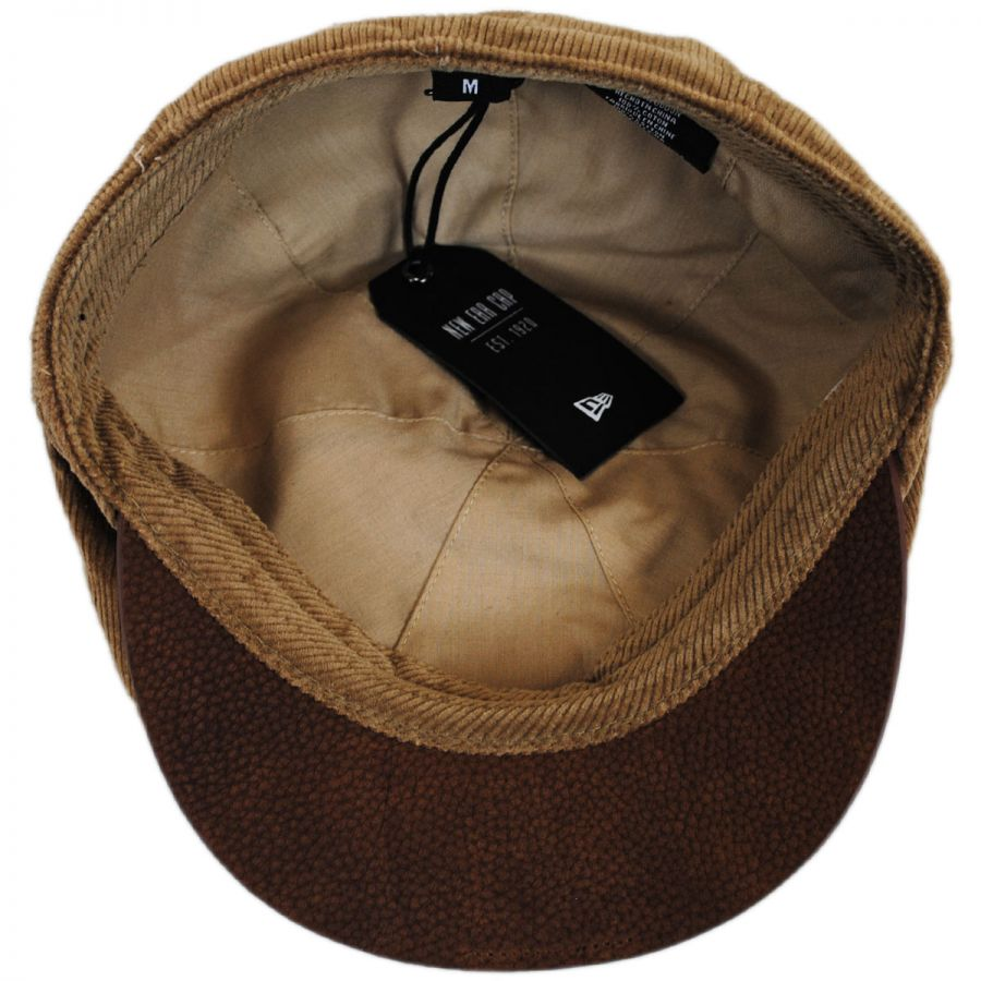 EK Collection by New Era Corduroy Leather Bill Driver Cap Newsboy Caps 8494125cf20