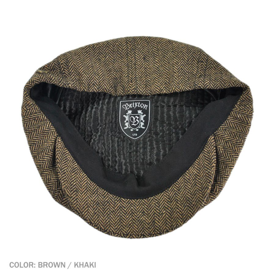 bb074198434 Brixton Hats Brood Herringbone Wool Blend Newsboy Cap - Brown Khaki ...