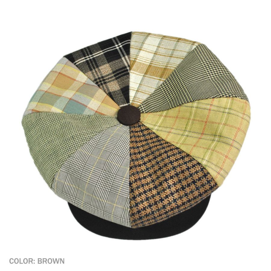 48f4f572fa9 Capas Headwear Patchwork Linen Big Apple Cap Flat Caps