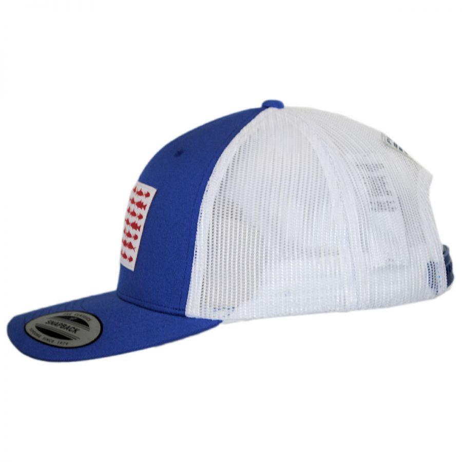 Columbia sportswear pfg fish flag mesh snapback baseball for Columbia fish flag hat