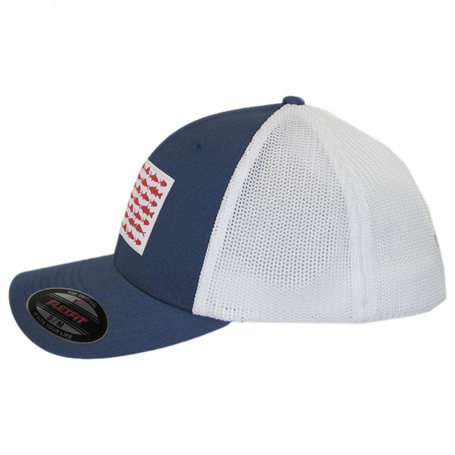 Columbia sportswear pfg fish flag mesh flexfit fitted for Fishing flat bill hats