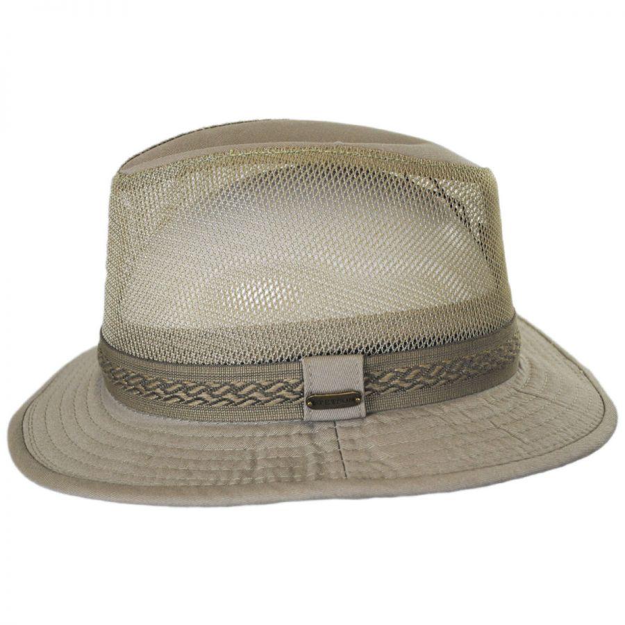 Stetson Web Trim Mesh Cotton Safari Fedora Hat Fabric 502515923a6