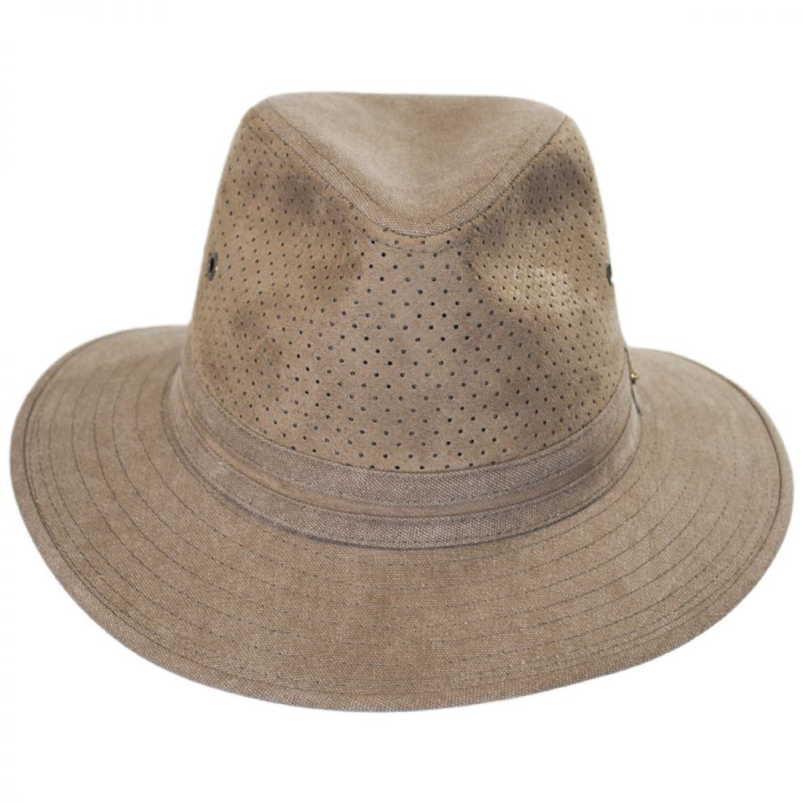 6c12f83d830586 Stetson Perforated Crown Canvas Safari Fedora Hat Fabric