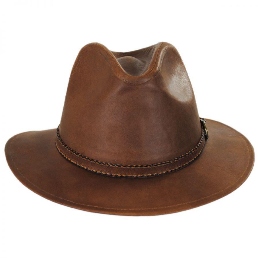 Stetson Goat Leather Safari Fedora Hat Leather Fedoras 8c77c92dbd6
