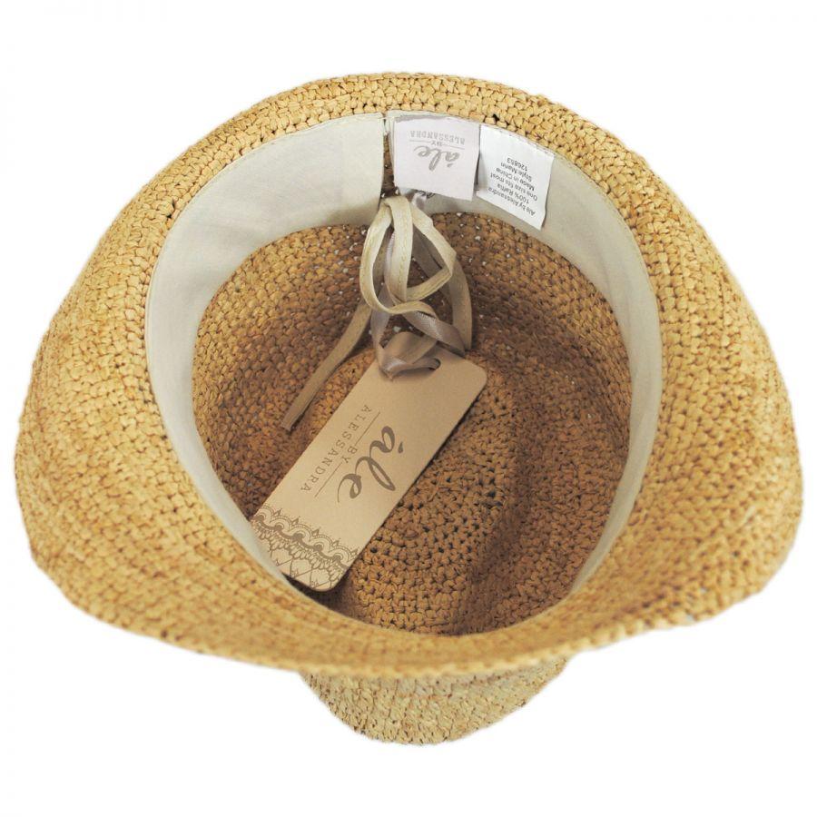 7a7f25bc ale by Alessandra Marin Raffia Straw Fedora Hat Fedoras