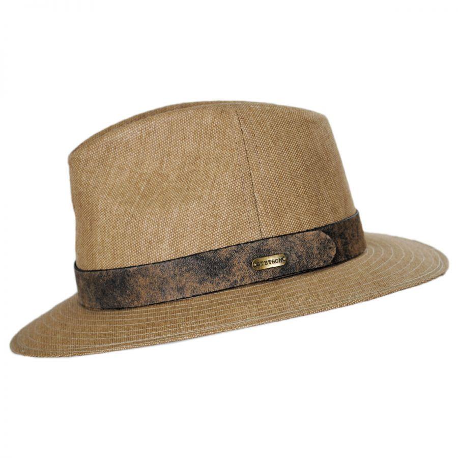 fa58f1f3d52fe3 Stetson Weathered Canvas Safari Fedora Hat Fabric