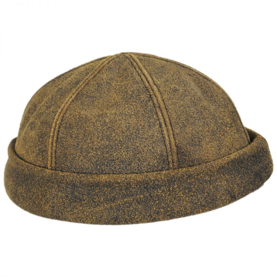 New York Hat Company Six Panel Antique Leather Skull Cap Beanie Hat ... c2f398de013