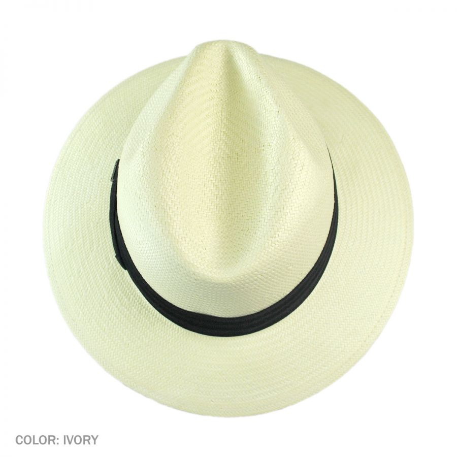 Jaxon Hats Toyo Straw Safari Fedora Hat - Black Band All Fedoras a9061227e435