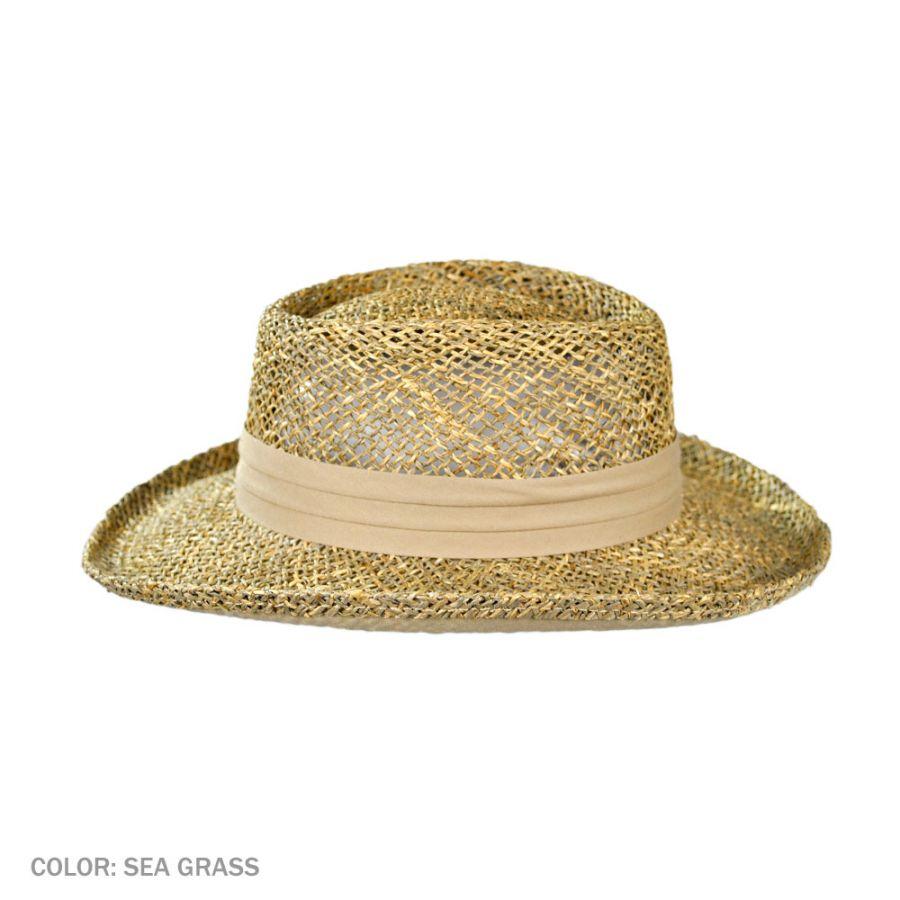 0c9c68a5cd2e9 Jaxon Hats Pebble Beach Seagrass Straw Gambler Hat Straw Hats