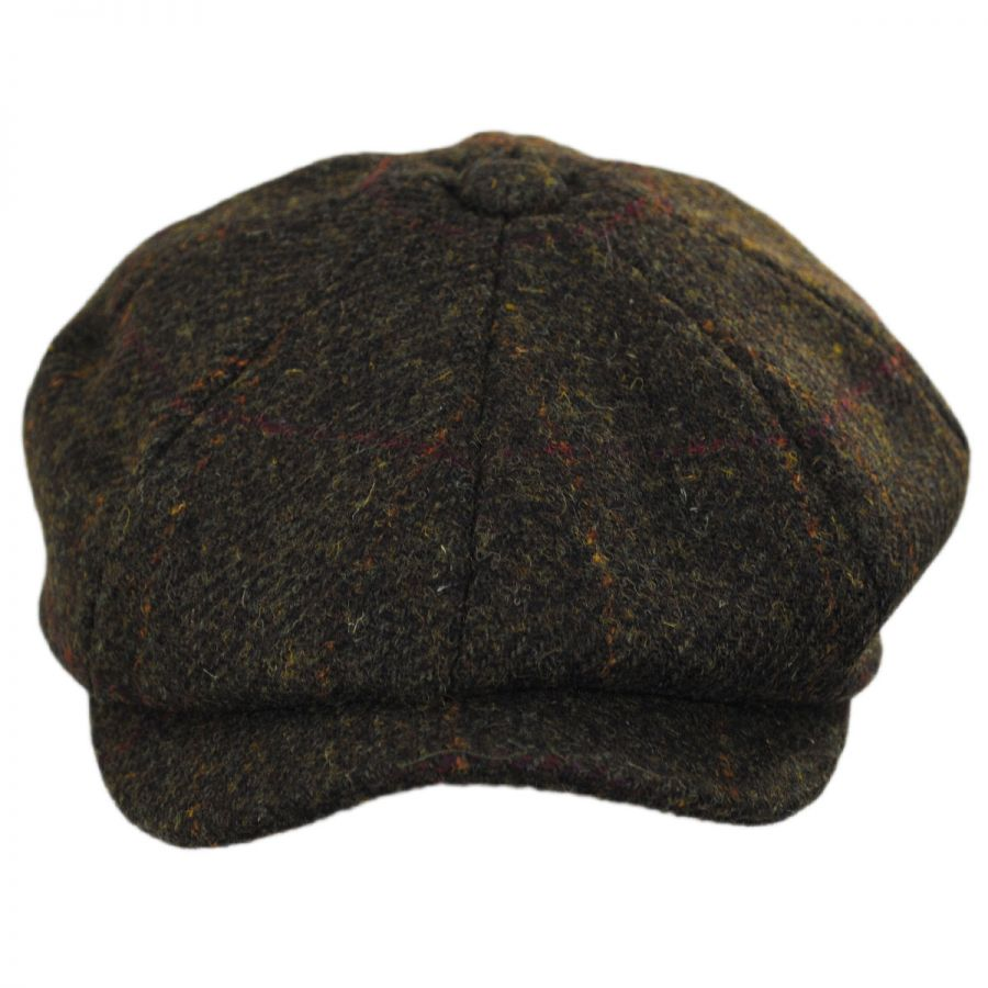 ff510ac45bef8 Failsworth Carloway Harris Tweed Wool Windowpane Plaid Newsboy Cap ...
