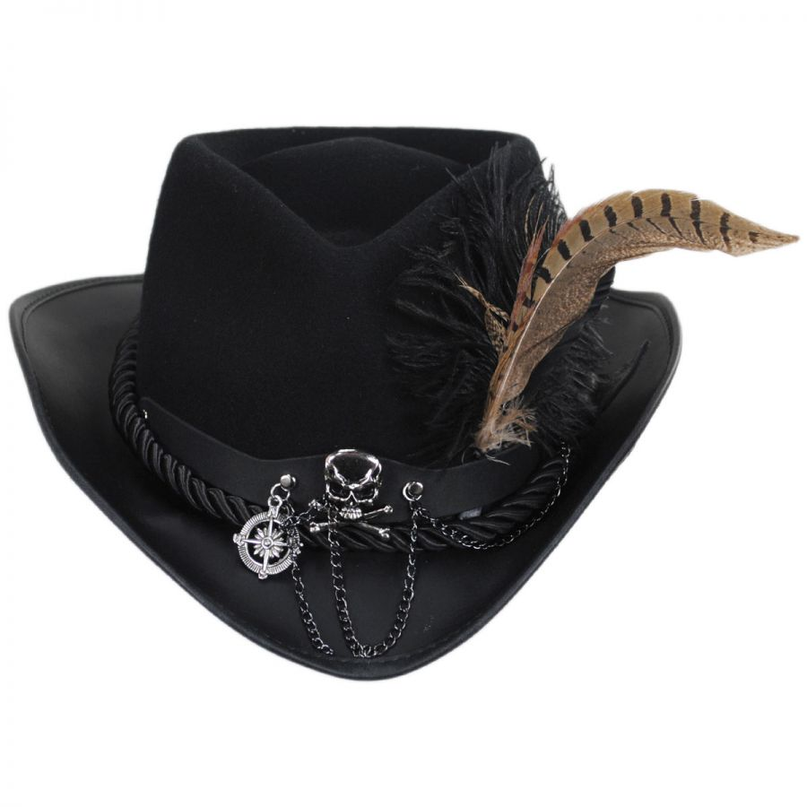 Head  N Home Sparrow Leather and Wool Felt Riding Hat Leather Fedoras 4cdfe827389