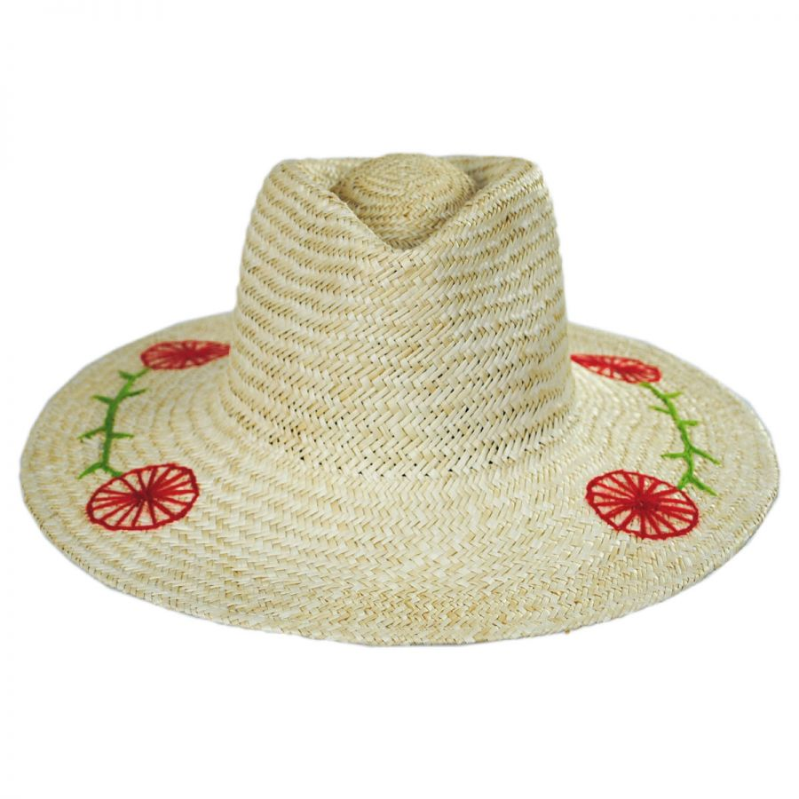 Brixton Hats Joanna Embroidered Brim Palm Straw Fedora Hat Straw Fedoras 28e90add42c