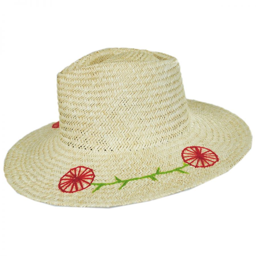 Brixton Hats Joanna Embroidered Brim Palm Straw Fedora Hat Straw Fedoras 80e0d705e